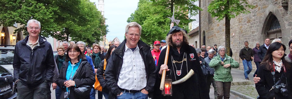 Rick on a Night Watchman tour in Rothenburg, Germany