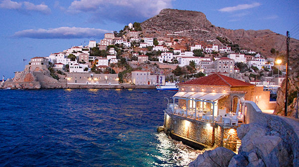 Dusk view off the coast of Hydra, Greece