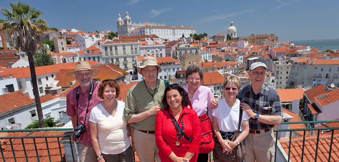 Tour group in Lisbon, Portugal