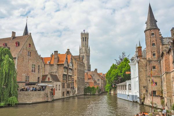 View from Rozenhoedkaai in the daytime, Bruges, Belgium