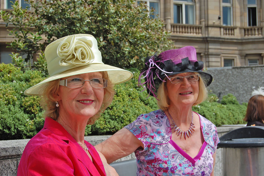 Hatted ladies in Edinburgh, Scotland