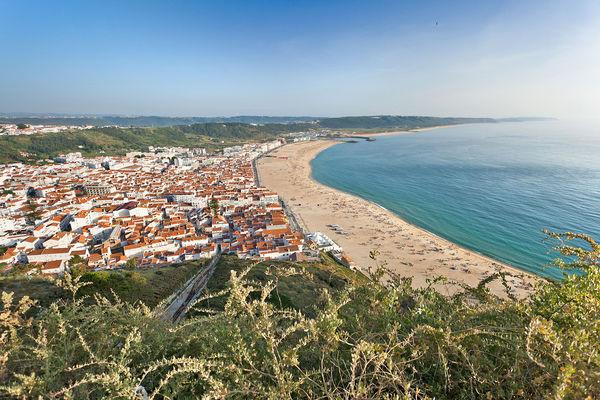 Nazaré and its beach, as seen from Sítio neighborhood, Portugal