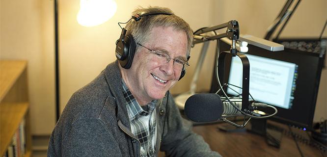 Rick recording in the studio, Edmonds, WA