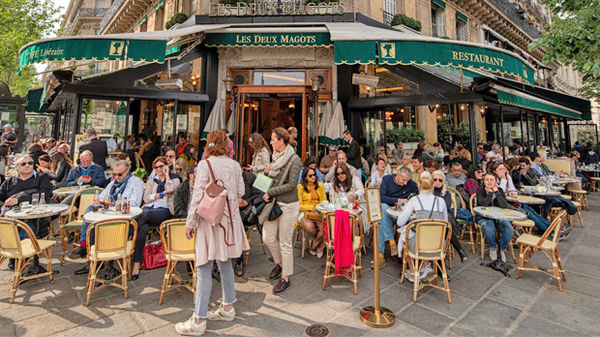 Les Deux Magots café in Paris, France