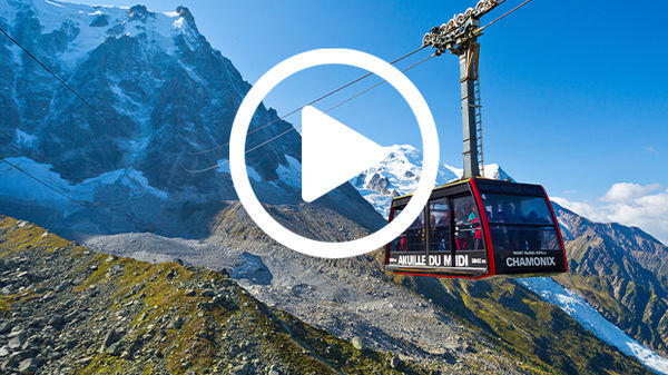 Cable car stretching between Mont Blanc's Aiguille du Midi viewpoint and Chamonix, France