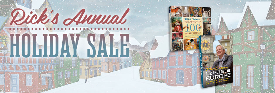 Holiday sale image promotion Rick Steves guidebooks