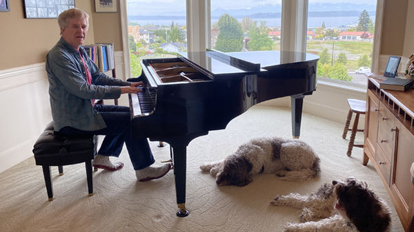 Rick playing piano in Edmonds, WA