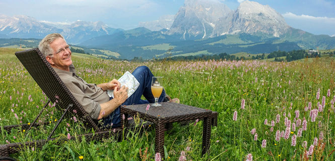 Rick Steves relaxing in the Dolomites