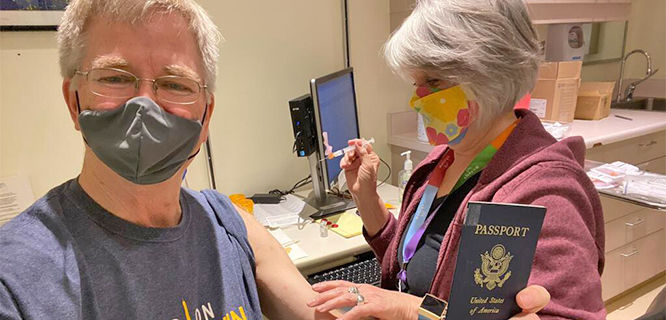 Rick getting his vaccine shot, Edmonds, WA