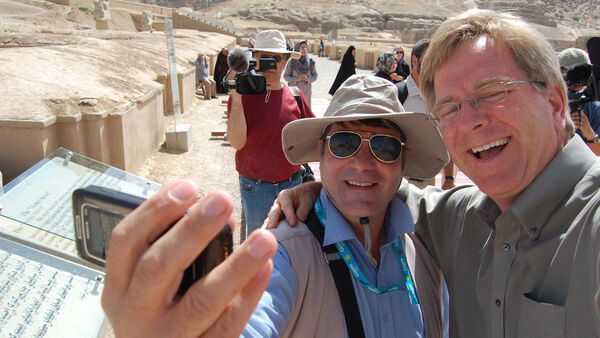 Guide Seyed and Rick taking a selfie, Iran
