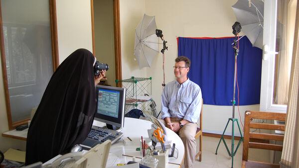 Cameraman Karel getting his photo taken, Iran