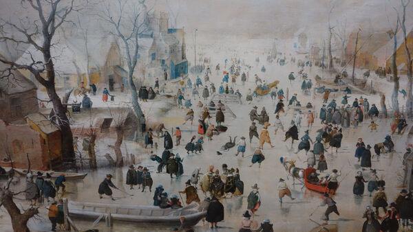 Winter landscape painting by Hendrick Avercamp in the Rijksmuseum, Amsterdam, Netherlands