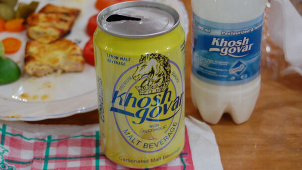 """A non-alcoholic """"malt beverage"""" that looks like a beer, Iran"""