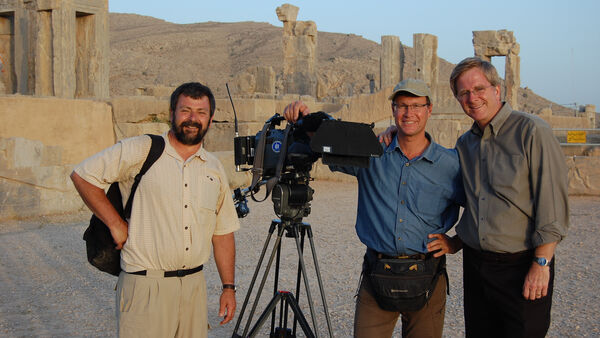 Rick, Simon, and Karel enjoying a day of filming in Iran