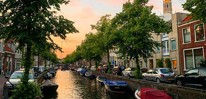 A view of a canal at sunset, Haarlem, Netherlands