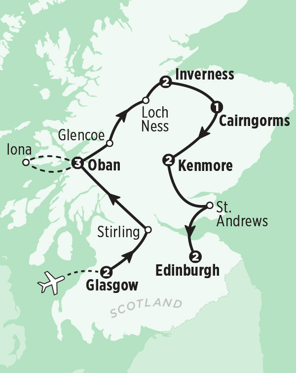Map of the Best of Scotland tour itinerary