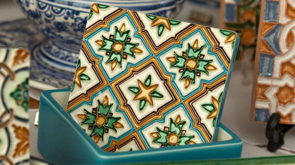 An azulejo, or tin-glazed ceramic tile, in Lisbon, Portugal