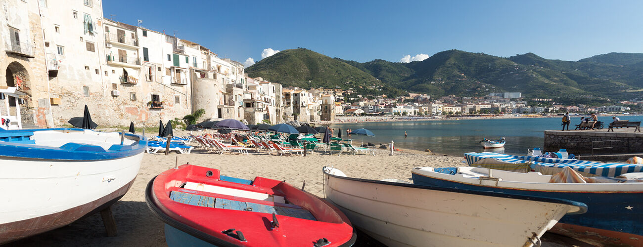 The seaside at Cefalù, on the north coast of Sicily