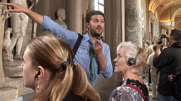 Ben Cameron points as he gives a guided tour