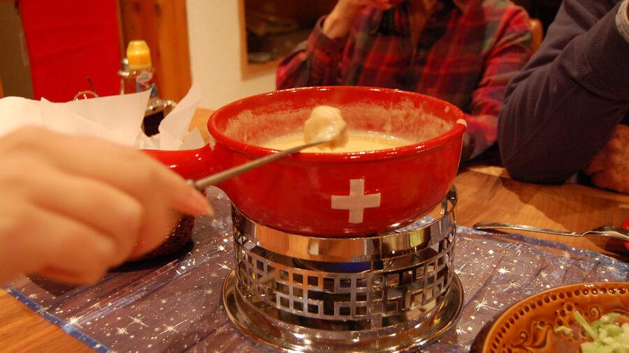 Fondue at home, Gimmelwald, Switzerland