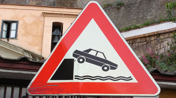Traffic sign warning of driving into water