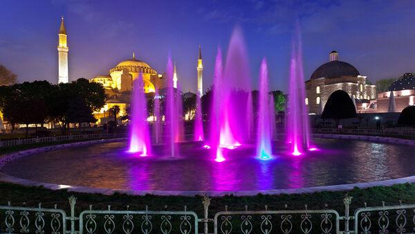 Fountain and Hagia Sophia, Istanbul, Turkey