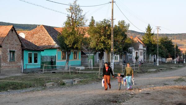 Romanian family walking