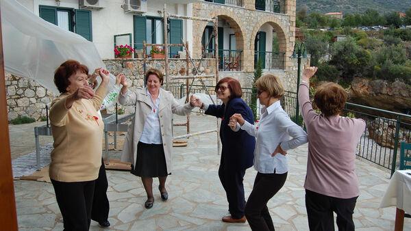 Women dancing in Kardamyli, Greece