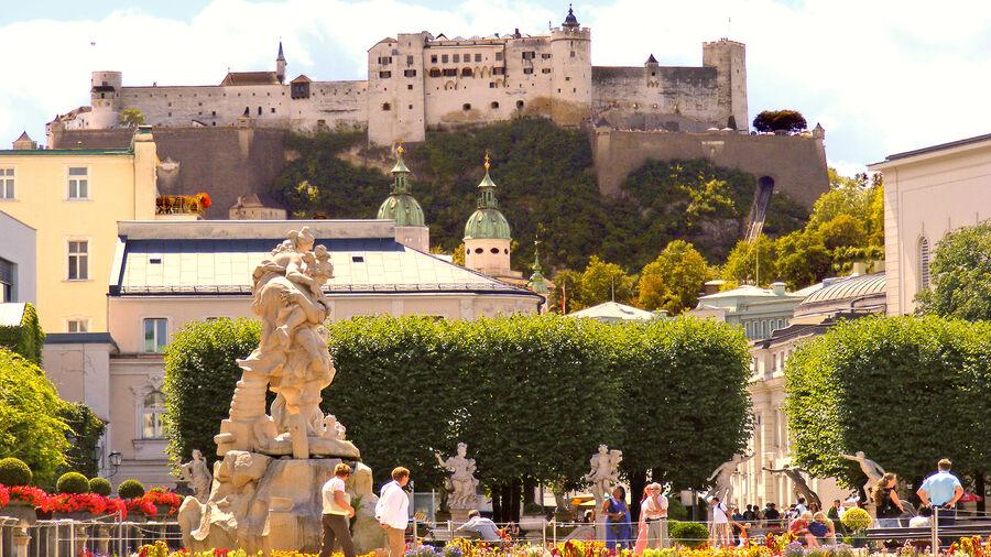 Hohensalzburg Fortress as seen from Mirabell Gardens, Salzburg