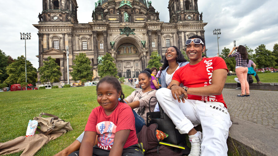 Family at Lustgarten and Berlin Cathedral, Germany