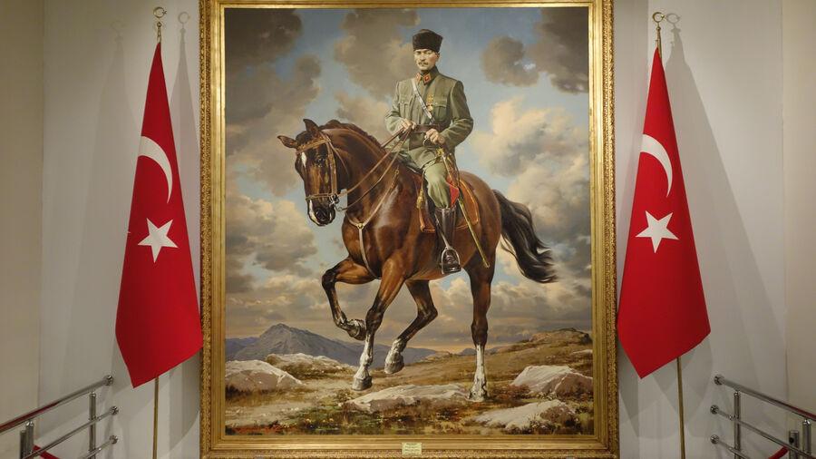 Portrait of Kemal Atatürk, in Anıtkabir mausoleum, Ankara, Turkey