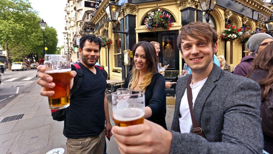 Outside the pub, London, England