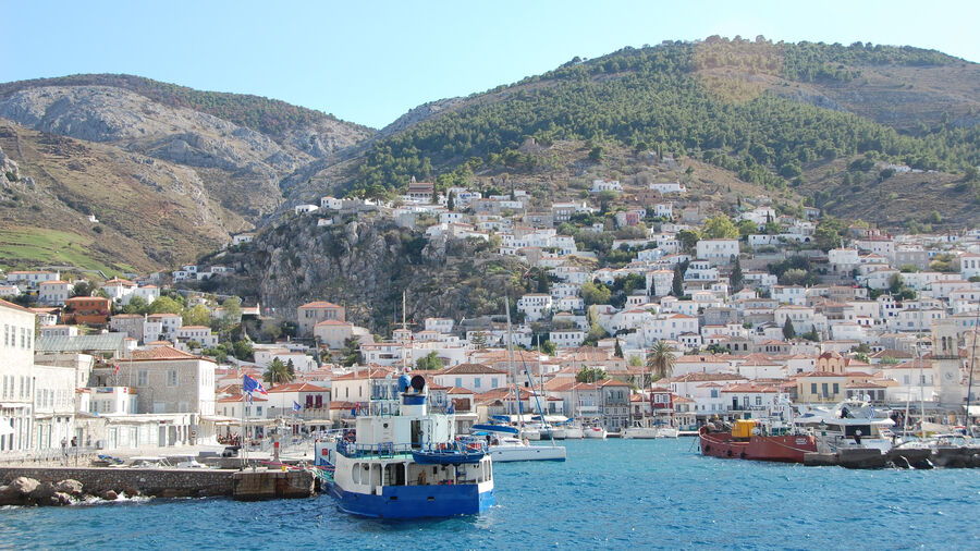 Port and harbor on the island of Hydra, Greece