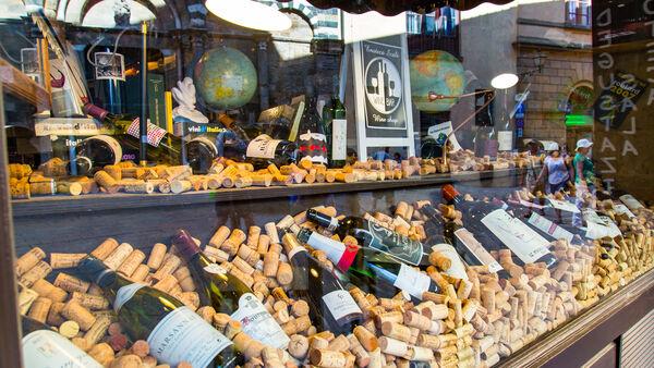 Wine shop storefront, Volterra, Italy