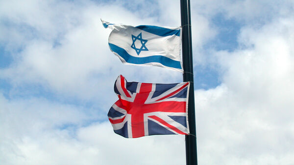 Flags of Israel and Great Britain