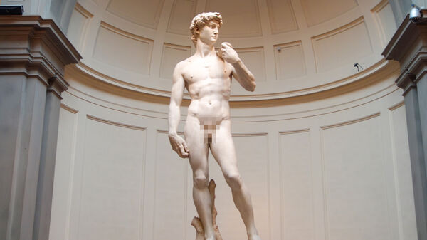 Michelangelo's David with pixelation effect, Florence, Italy
