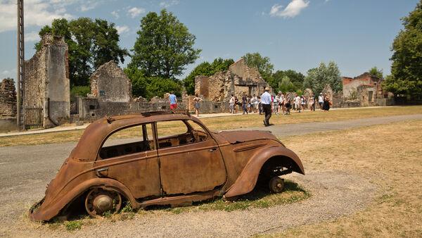Remains of a car at Oradour-sur-Glane, France