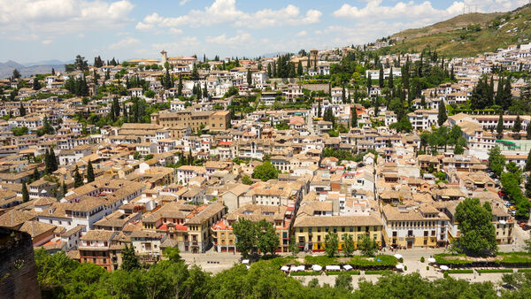 View of Sacromonte from the Alhambra, Granada, Spain