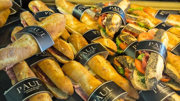 Deli sandwiches in a case