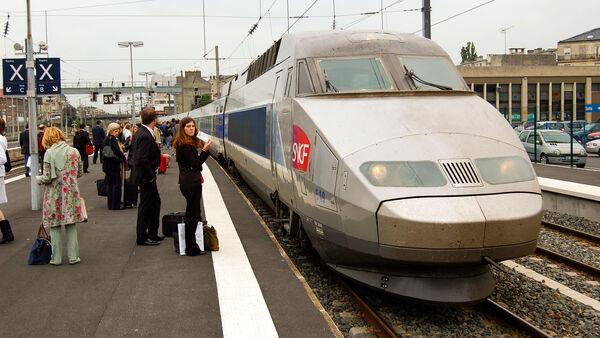 TGV train at station, France