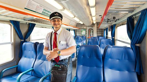 Empty seats in train cabin