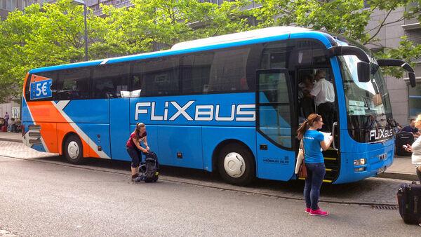 People boarding a Flix bus