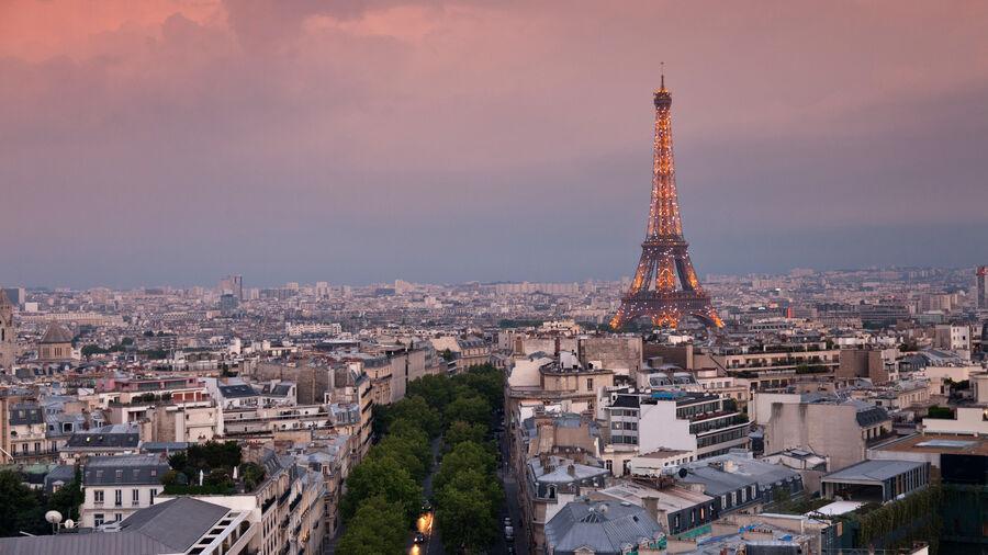 Eiffel Tower as seen from Arc de Triomphe, Paris, France