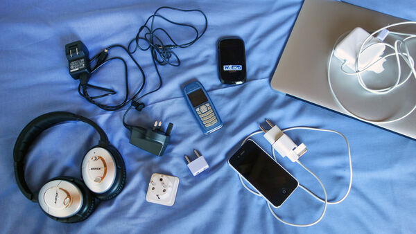 Assorted electric gadgets and power supplies