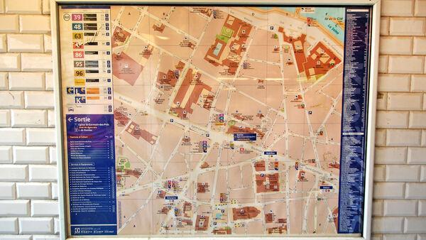 Map in Métro station, Paris, France