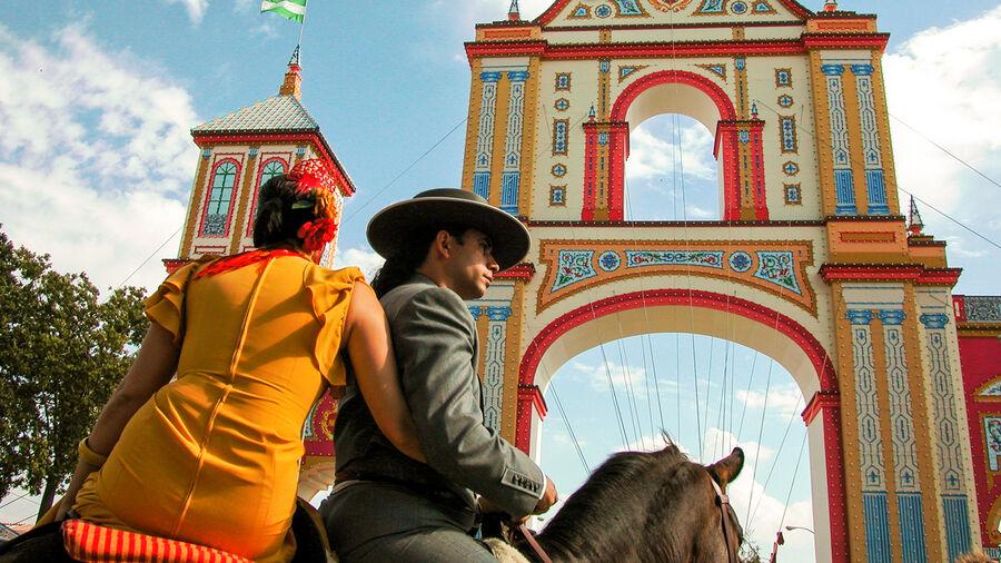 Entrance gate at April Fair, Sevilla, Spain