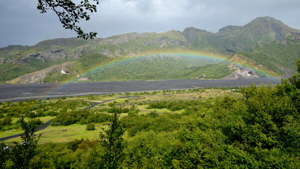 Rainbow in South Coast, Iceland