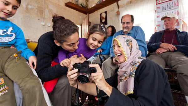 People laughing with camera, Cappadocia, Turkey