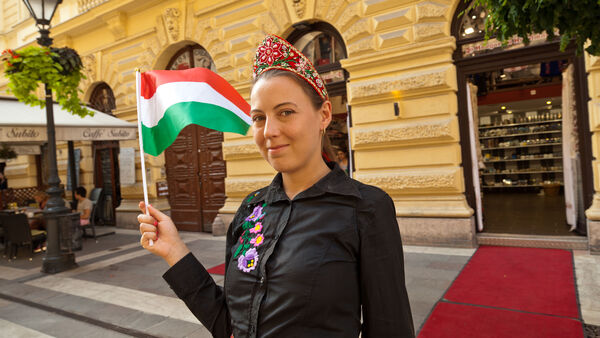 Woman celebrating St. István's Day in Budapest, Hungary