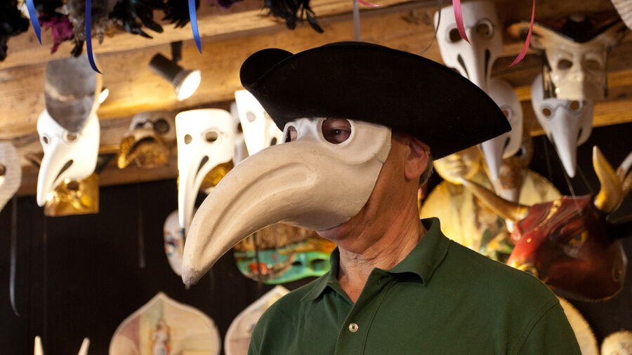 Plague doctor mask, Venice, Italy